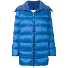 Moncler Laburnum Coat ($1,353) ❤ liked on Polyvore featuring outerwear, coats, mid length coat, moncler coat, oversized collar coat, blue coat and moncler