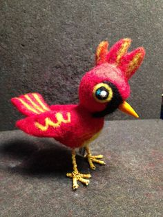 "Red Cardinal - by Christine Benjamin - Felted wool, wire, wood, 5"" tall - SOLD"