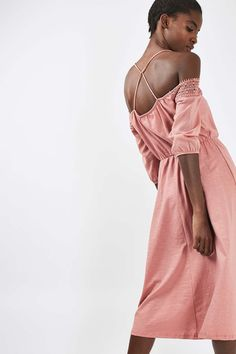 Crochet Cold Shoulder Midi Dress