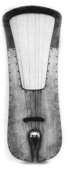 Cologne lyre early reconstruction, a late 7th or early 8th Century Germanic lyre found in Germany