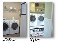 Laundry Room Makeover  Put shelving under your washer and dryer for storage.