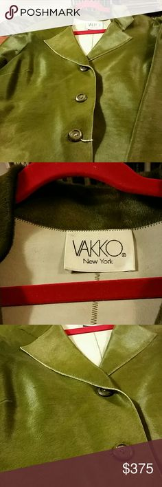 Vakko Genuine haircalf 3 button jacket Unlined, molds to the skin, olive green perfect in every way Jackets & Coats Blazers