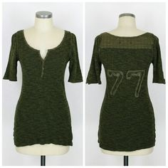 "Free People We The Free henley shirt Sz L. We The Free by Free People henley. Green. Cotton. Excellent condition no flaws. Approx measurements Bust 33"" Length 28"".  Excellent condition no flaws. Free People Tops"