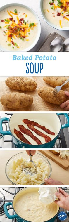 Baked potato heaven? You may think so when you find all your baked potato favorites - bacon, cheese and sour cream - in one creamy soup recipe!