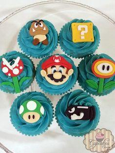 Mario Birthday Cake, Super Mario Birthday, Super Mario Party, Birthday Cup, Super Mario Bros, Super Mario Cupcakes, Fun Cupcakes, Mario Bros Cake, Magnum Paleta