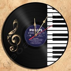 Wall Clock PianoTheme Vinyl Record Clock home decoration housewares Upcycled…