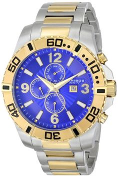 Men's Wrist Watches - Akribos XXIV Mens AK671TTG Grandiose Swiss Quartz Multifunction Blue Dial Twotone Stainless Steel Bracelet Watch *** Find out more about the great product at the image link.