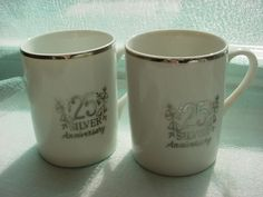 Vtg 25 Silver Wedding Anniversary Cups Mugs Set of Two Gift Idea Cappuccino 3 in Seller florasgarden on ebay