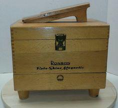 Vintage ronson roto shine magnetic shoe shine box kit