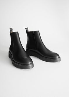 ac030490007a Back image of Stories leather chelsea boots in black Leather Chelsea Boots