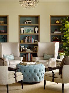 furniture layout 4 chairs 2 pairs + tuft round ottoman