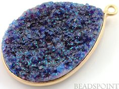 Dark Blue Druzy Crystal Cluster Pear Pendant AAA by Beadspoint, $16.99