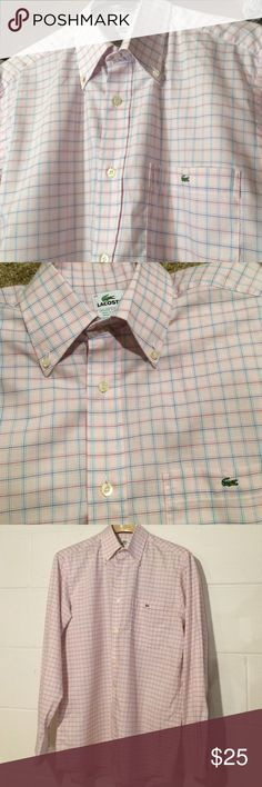 """Men's Lacoste dress shirt! Unique style! Designed in France, this is a beautiful Men's Lacoste Dress Shirt. In excellent, like new condition. Pink is main color with a very unique checkered pattern with shades of blue and red.  Size on the tag is """"Lacoste 40"""". It fits like a Men's Large ( runs a tad small). Perfect condition. Lacoste Shirts Dress Shirts"""