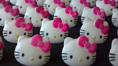 Hello Kitty face cupcake rings picks or cake toppers, perfect for your girly hot pink hello kitty cat birthday party or as treat bag favors-AisforApronStrings @Etsy