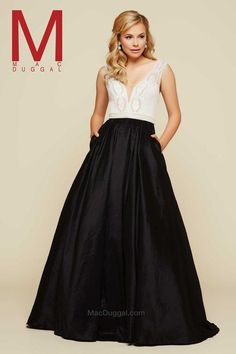 Mac Duggal black white prom dress with pockets. Prom Girl Dresses, Prom Dresses 2016, Designer Prom Dresses, Pageant Dresses, Ball Dresses, Bridal Dresses, Nice Dresses, Ball Gowns, Formal Dresses