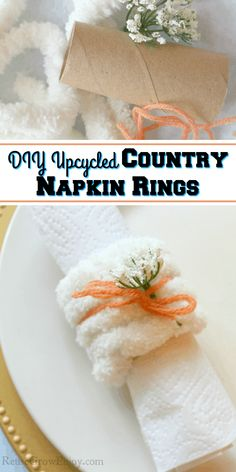 Make these super easy and cute upcycled napkin rings the next time you want to class up the table. Keep Recipe, Paper Towel Tubes, Country Rings, Artificial Succulents, Dollar Tree Crafts, Glue Crafts, Farmhouse Style Decorating, Natural Living, Easy Diy Projects