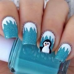 Cute White and Blue Penguin Christmas Nail Art