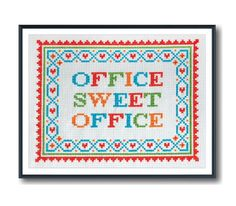 Office Sweet Office Cross Stitch | 20 Secret Santa Gifts For Your Boss That Are Actually Cool | Bustle