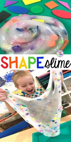 SHAPE slime! How to make shape slime and infuse geometry into sensory play for toddler, preschool and kindergarten kids. #slime #preschool #shapes #prek