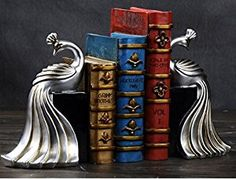 Amazon.com: Resin Peacock Figurines Bookend for Both Office Use and Home Decoration Antique Silver Color, Set of 2: Home & Kitchen