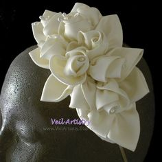 Bridal Fascinator, Bridal Headpiece, Bridal Headband, Ivory Headpiece, Ivory Floral Headpiece, Made-to-Order Headpiece, Custom Headpiece