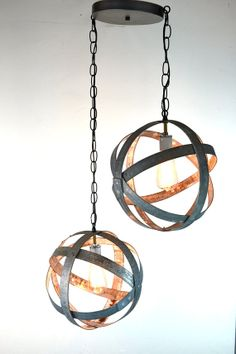 Double Small Atom Wine Barrel Ring Hanging by winecountrycraftsman