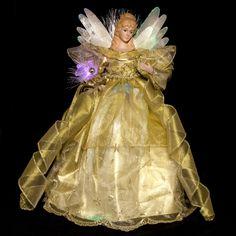 "16"" Gold Fiber Optic LED Angel Tree Topper"
