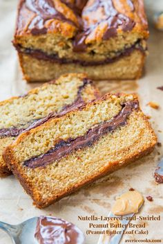 Nutella-Layered-and-Swirled Peanut Butter Bread - If a yellow cake met a jar of peanut butter on the way to the oven, this is what you'd get. With a big river of Nutella running through the middle!