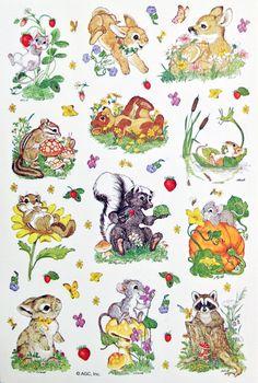 BEAR-CHIPMUNK-DEER-MOUSE-RABBIT-RACCOON-SKUNK-SQUIRREL Sticker Sheet