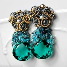 Emerald Night Earrings Magdalena Borejko - designer gemstone jewelery