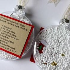 """I Spy"" Ornament Christmas Gifts  This cute and clever Christmas gift makes a wonderful interactive stocking stuffer for children of all ages. They will love spying for their little treasures, and they can save the ornaments to hang on the tree next year."
