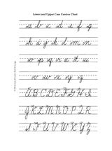 Help children learn and practice writing the alphabet using cursive letters with this printable worksheet featuring both a traditional uppercase and lowercase alphabet. Cursive Alphabet Printable, Cursive Chart, Uppercase Cursive, Cursive Writing Worksheets, Alphabet Charts, Alphabet Writing, Cursive Handwriting, Cursive Letters, Alphabet Worksheets