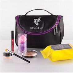 Kid in a Candy Store Collection Stiff Upper Lip Lip Stain, Splurge Cream Shadow, Cream Shadow Brush, Beachfront Bronzer, Set of Blending Buds, Shine Eye Makeup Remover Cloths, Younique makeup bag.    $115