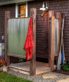 An out door shower is not only crazy fun, it is also great for our planet – just use bio-degradable soap (more on that later) and let all the water soak into the garden!