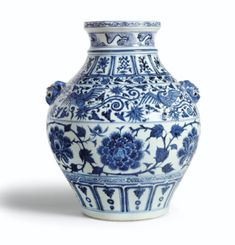 A RARE BLUE AND WHITE 'PEONY' JAR YUAN DYNASTY - Sotheby's