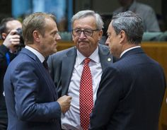 The three presidents, Donald Tusk (E.U. Council), Jean-Claude Juncker (E.U. Commission) and Mario Draghi (ECB), may have to rethink their plans. Source: Reuters