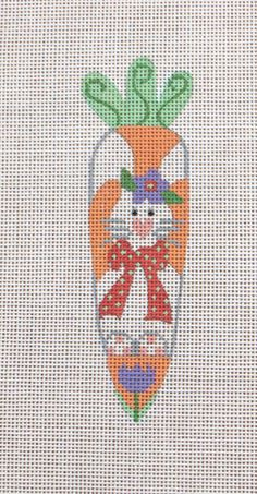 Danji CH Designs Bunny Carrot Easter Ornament Handpainted Needlepoint Canvas | eBay
