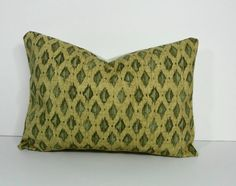 Ikat Decorative Lumbar Pillow Cover in Green and Gold 12 x 16, Cushion Cover
