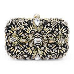 Black Evening Clutch Bags Crystal Rhinestone Evening Bag for Women Gold Evening Bags Chain Strap * To view further for this item, visit the image link. Note: It's an affiliate link to Amazon