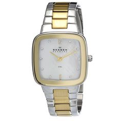 This elegant women's watch features a stainless steel square case with a matching two-tone gold and silver bracelet. The mother of pearl dial sets the stage for goldtone Arabic numerals and Swarovski crystals for easy time-telling.