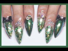 Emerald Green Acrylic Nails Refill - YouTube
