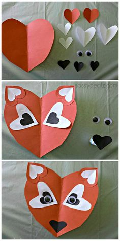 Paper Heart Fox Craft For Kids #Fox art project #DIY #Valentine craft #What does the fox say | CraftyMorning.com