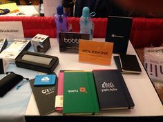 Bobble filtration bottles, Moleskine journals and luggage tags