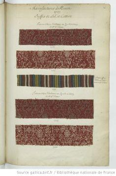1737 fabric swatches (French)  * Manufactures à Rouen // 1737 // Etoffes de fil et Cotton - Echantillons d'étoffes et de rubans recueillis par le Maréchal de Richelieu