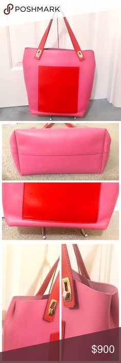 Balenciaga Colorblock Pink Pocket Tote RARE! Sold out! In excellent slightly used condition! Balenciaga Colorblock Pocket Tote. Stunning pink and red color block. Flat Front Pocket. One Inner Zip Pocket. Two small pockets inside. Double Flat Leather Handles. Suede lining. Hardware is gold. Very minimal and insignificant creasing on the lower corners. Other than the aforementioned, this bag is exceptional! Will come with original Balenciaga dust bag.            Measurements :  Width: 14.5…