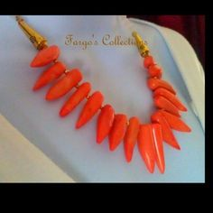 """Coral Necklace Different sizes of Coral and 6 mm Jade 19"""" long necklace with Gold Filled Pyrite & Gold Plated. Long Earrings made with Coral and Gold tones. All handmade by Fargo's Collections. Fargo's Collections Jewelry Necklaces"""