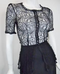 Black Lace Glass Button Sheer Blouse circa 1930s - Dorothea's Closet Vintage