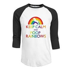 AOLM Men's Awesome 3/4 Sleeve Raglan Tees Keep Calm And Poop Rainbows #funny #fashion #gaggift #giftidea #poop #poopemoji #tshirt #tshirts