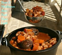 Northern Bean & Cremini Mushroom Provencal Stew - northern beans, olive oil, cremini mushrooms, garlic cloves, red wine, carrots, frozen pearl onions, vegetable or beef broth, tomato paste, fresh rosemary, fresh tarragon or thyme, kosher salt, black pepper, nutmeg, canned diced tomatoes, bay leaf