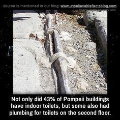 Not only did 43% of Pompeii buildings have indoor toilets, but some also had plumbing for toilets on the second floor.